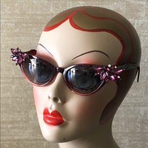 OOAK Retro Pinup Cat Eye Rhinestone Sunglasses
